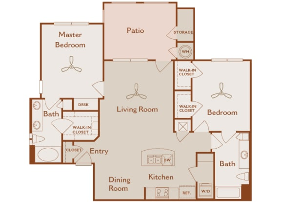 Foothills at Old Town - B3 (White Alder) - 2 bedrooms and 2 bath - 2D floor plan