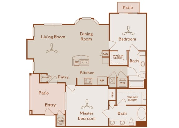 Foothills at Old Town - B4 (Manzanita) - 2 bedrooms and 2 bath - 2D floor plan