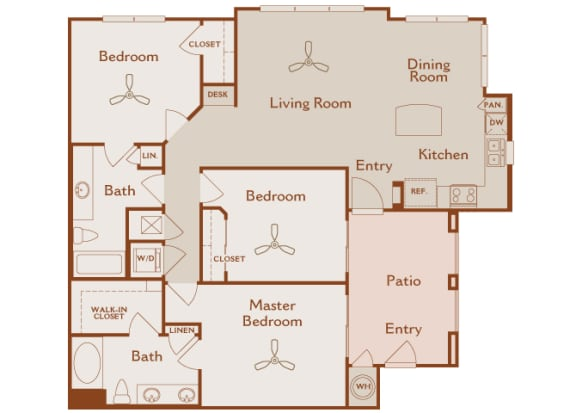 Foothills at Old Town - C1 (Toyon) - 3 bedrooms and 2 bath - 2D floor plan