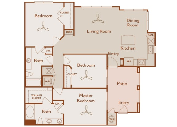 Foothills at Old Town - C1a (Madrone) - 3 bedrooms and 2 bath - 2D floor plan