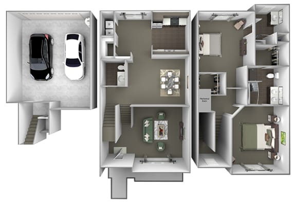 Foothills at Old Town - th-C1 (Olive) - 3 bedrooms and 2.5 bath - 3D floor plan