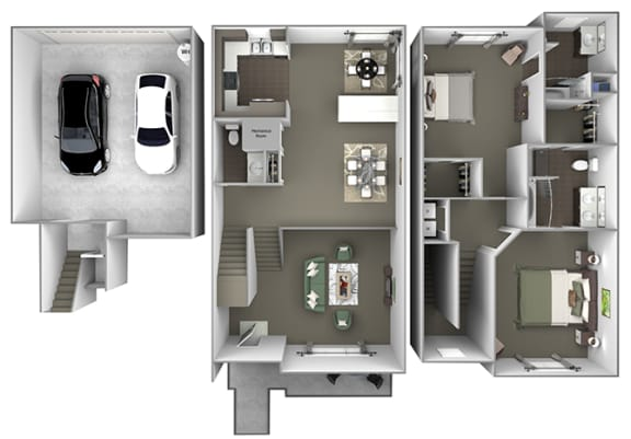 Foothills at Old Town - th-C2 (Torrey) - 3 bedrooms and 2.5 bath - 3D floor plan