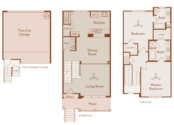 Foothills at Old Town - th-C1 (Olive) - 3 bedrooms and 2.5 bath - 2D floor plan
