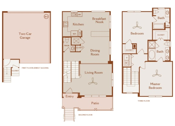 Foothills at Old Town - th-C2 (Torrey) - 3 bedrooms and 2.5 bath - 2D floor plan