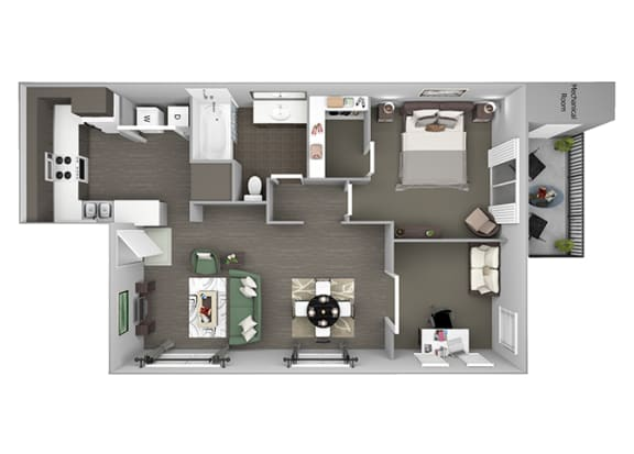 Hills of Valencia Apartments - A5 (with den) - 1 bedroom and 1 bath - 3D
