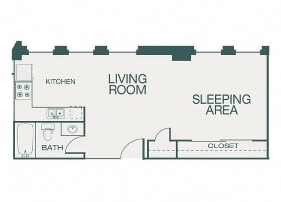 The Kirby - A1 - The Ervay - studio - 1 bath