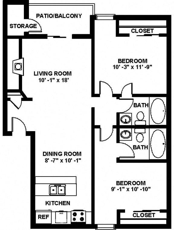 B3 2 bedroom 2 bathroom Floor plan at Copper Ridge Apartments, WA, 98055