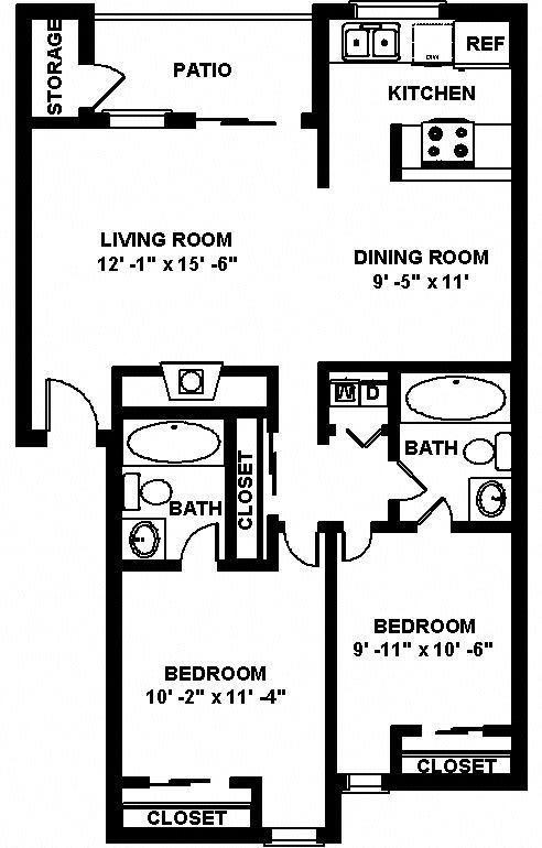 B4 2 bedroom 2 bathroom Floor plan at Copper Ridge Apartments, 4600 Davis Avenue S, WA