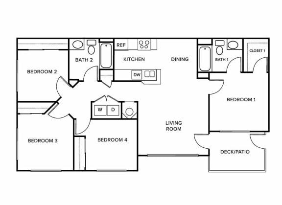 Four bedroom floor plan