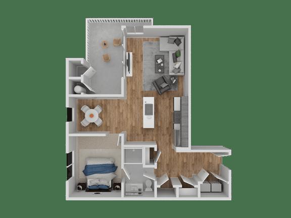 Floor Plan  Hub Apartments | Folsom CA |Floorplan | 738 A2