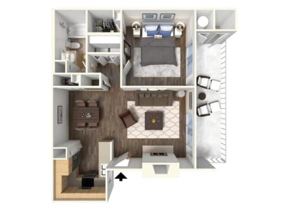 The Cherry 1x1 floor plan for rent at Kirker Creek in Pittsburg Ca