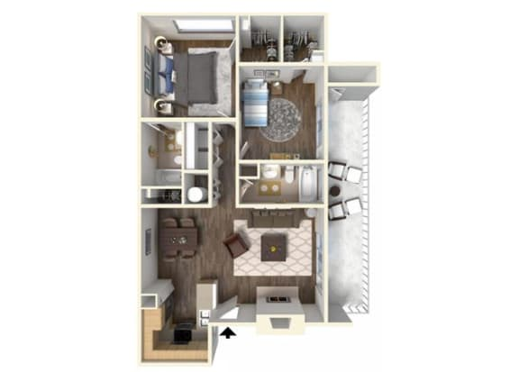 The Holly 2x2 floor plan.for rent at Kirker Creek in Pittsburg Ca