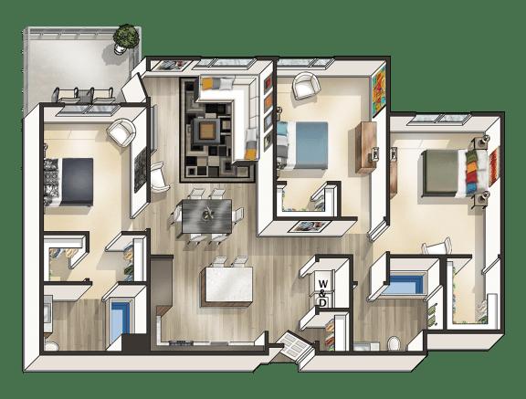 Floor Plan  3 bedroom Floor plan Mode Apartments for rent in San Mateo