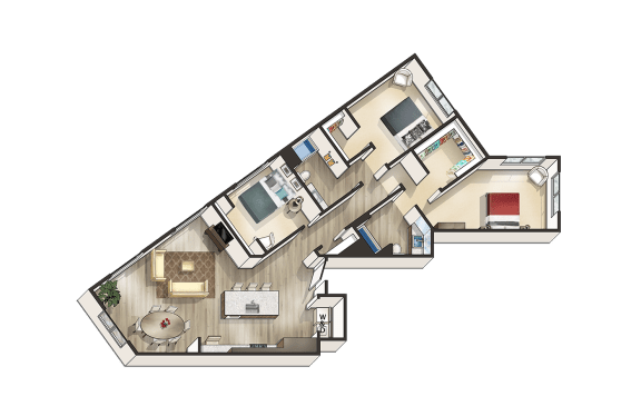 Three Bedroom Floor Plan Mode Apartments for rent in San Mateo