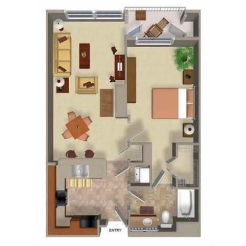 Floor Plan  1 Bedroom 1 Bathroom Floor Plan Two, at Beaumont Apartment Homes, Washington, 98072