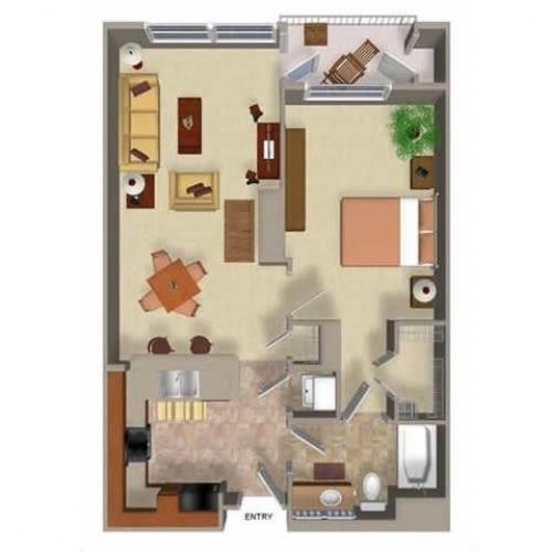 1 Bedroom 1 Bathroom Floor Plan Two, at Beaumont Apartments, WA 98072