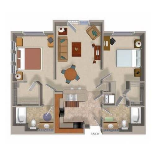 2 Bedroom 2 Bathroom Floor Plan Two, at Beaumont Apartments, 14001 NE 183rd Street, Washington