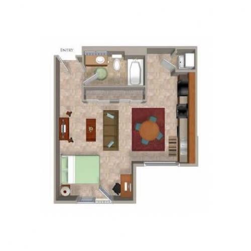 Studio 2 Floor Plan, at Beaumont Apartments, Woodinville, WA