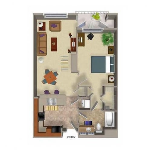 One Bed One Bath Floor Plan 1, at Beaumont Apartments, 14001 NE 183rd Street