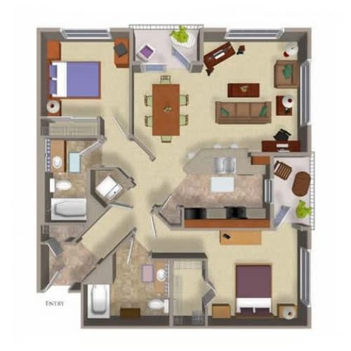2 Bed 2 Bath Floor Plan Three, at Beaumont Apartments, Woodinville, WA