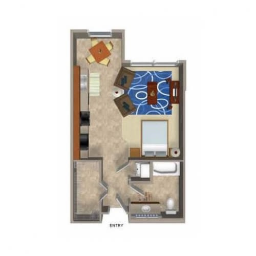 Floor Plan  Studio 3 Floor Plan, at Beaumont Apartment Homes, 14001 NE 183rd Street, WA