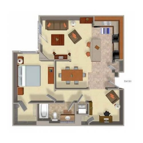 One Bed One Bath Floor Plan 4at Beaumont Apartments, Woodinville, Washington