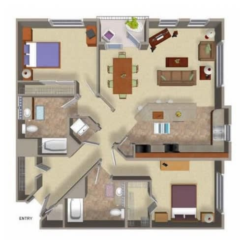 2 Bed 2 Bath Floor Plan Four, at Beaumont Apartments, Woodinville, 98072