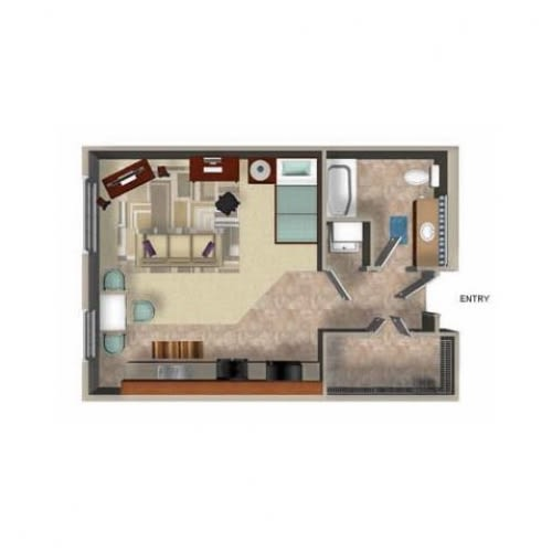 602 Square Foot Studio Floor Plan, at Beaumont Apartments, Woodinville, 98072