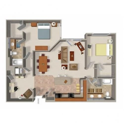 Floor Plan  2 Bedroom 2 Bathroom Floor Plan Five, Washington, at Beaumont Apartment Homes, 14001 NE 183rd Street
