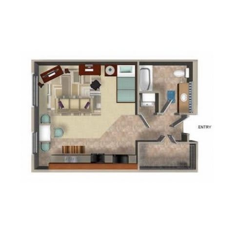 Floor Plan  Studio Floor Plan, at Beaumont Apartment Homes, Woodinville, Washington