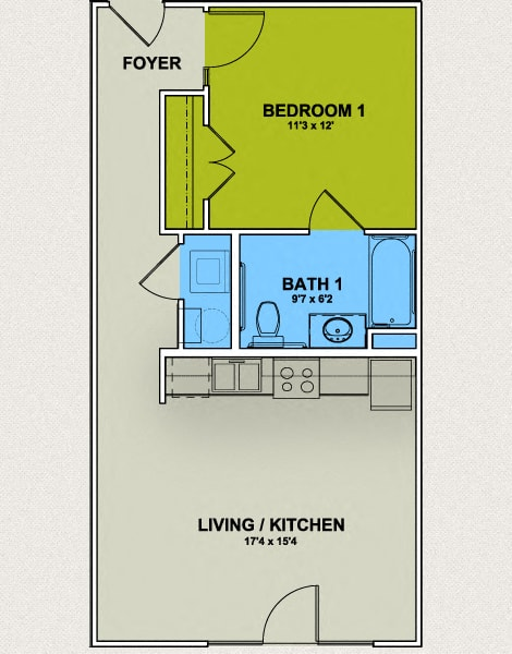 Image of Aycok Floor Plan 1 Bed 1 Bath