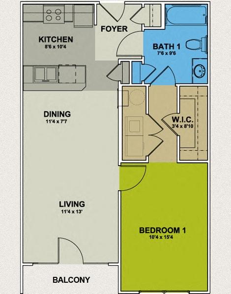 Image of Bellemeade Floor Plan 1 Bedroom 1 Bath