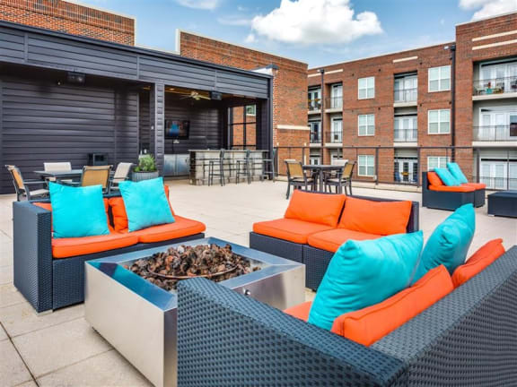 Outdoor courtyard with fire pit at Greenway at Fisher Park, North Carolina