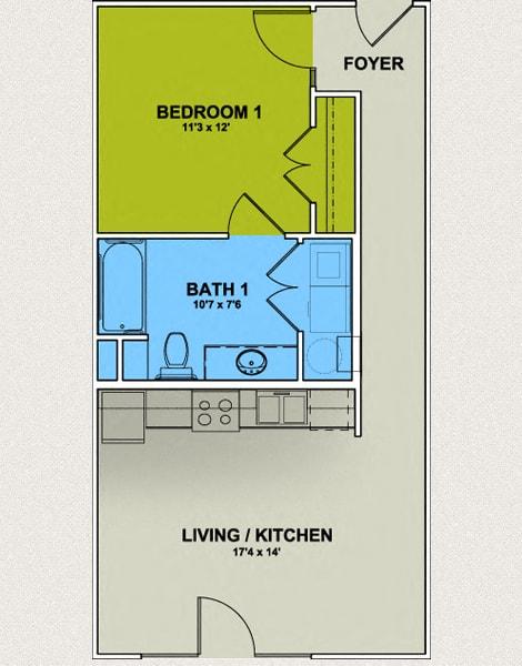 Image of Westerwood Floor Plan 1 Bed 1 Bath