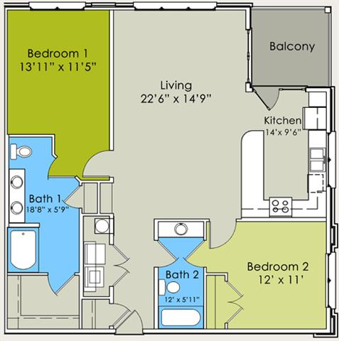 Two Bedroom Two Bathroom Floor Plan at Greenway at Stadium Park, Greensboro