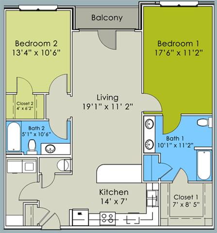Two Bed Two Bath Floor Plan at Greenway at Stadium Park, Greensboro, North Carolina
