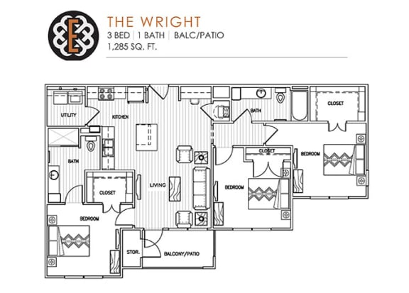 Floor Plan  THE WRIGHT at The Edison at Peytona, Tennessee, 37066