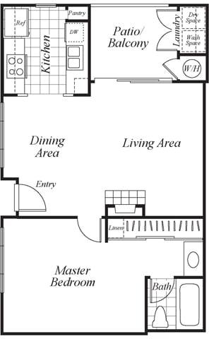 Floor Plan  A1 floor plan at Westbrook Apartments in San Diego, CA