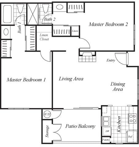 Floor Plan  B2 floor plan at Westbrook Apartments in San Diego, CA