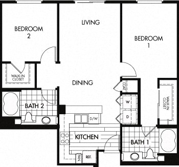 Floor plan at Trio Apartments, California, 91101
