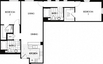 Floor plan at Trio Apartments, Pasadena, 91101