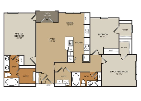 Floor Plan Residences at Forty Two 25 Apartments for rent in Phoenix, AZ