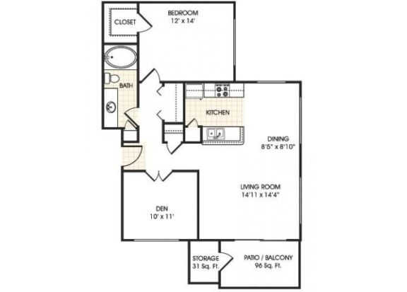 Floor Plan  Stonebridge Ranch Apartment Homes for Rent in Chandler AZ  1 bedroom apartment floor plan