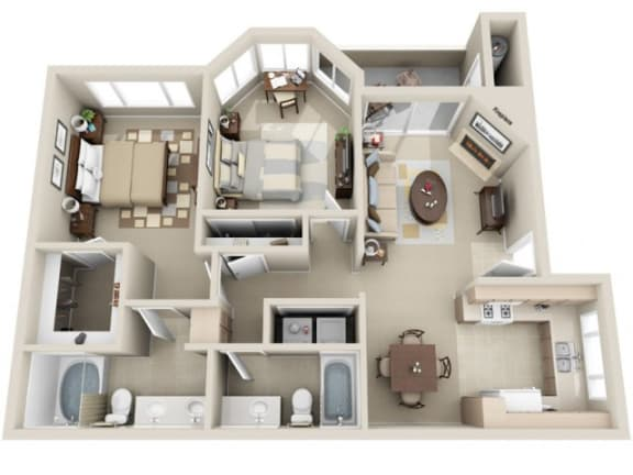 2 Bed 2 Bath b1 Floor plan, at Lakeview at Superstition Springs, Arizona, 85206
