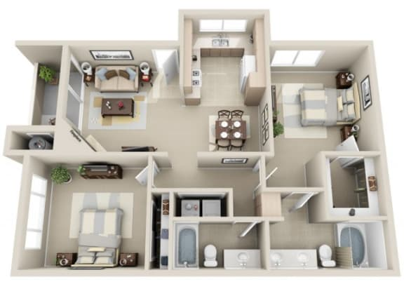2 Bed 2 Bath b4 Floor plan, at Lakeview at Superstition Springs, 1849 South Power Road, AZ