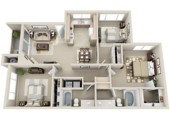 3 Bed 2 Bath c2 Floor plan, at Lakeview at Superstition Springs, Mesa, 85206