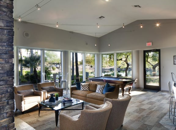 Resident Lounge with Billiards, at Lakeview at Superstition Springs, Mesa, Arizona