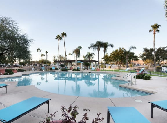 Swimming Pool with Lounge Chairs, at Lakeview at Superstition Springs, Mesa, AZ