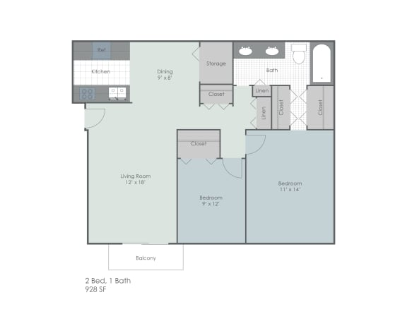 Two bed and one bath 2D floor plan