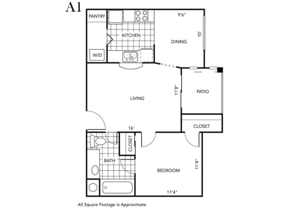 Floor Plan  One Bedroom One Bathroom floor plan A1
